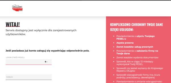 Rejestracja na stronie KRD