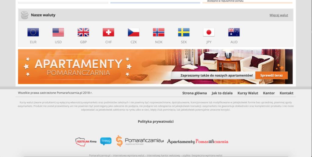 Pomarańczarnia.pl waluty