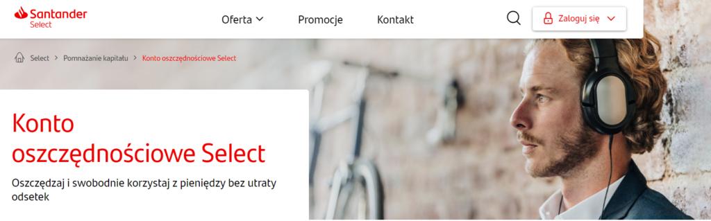 konto oszczędnościowe select Santander