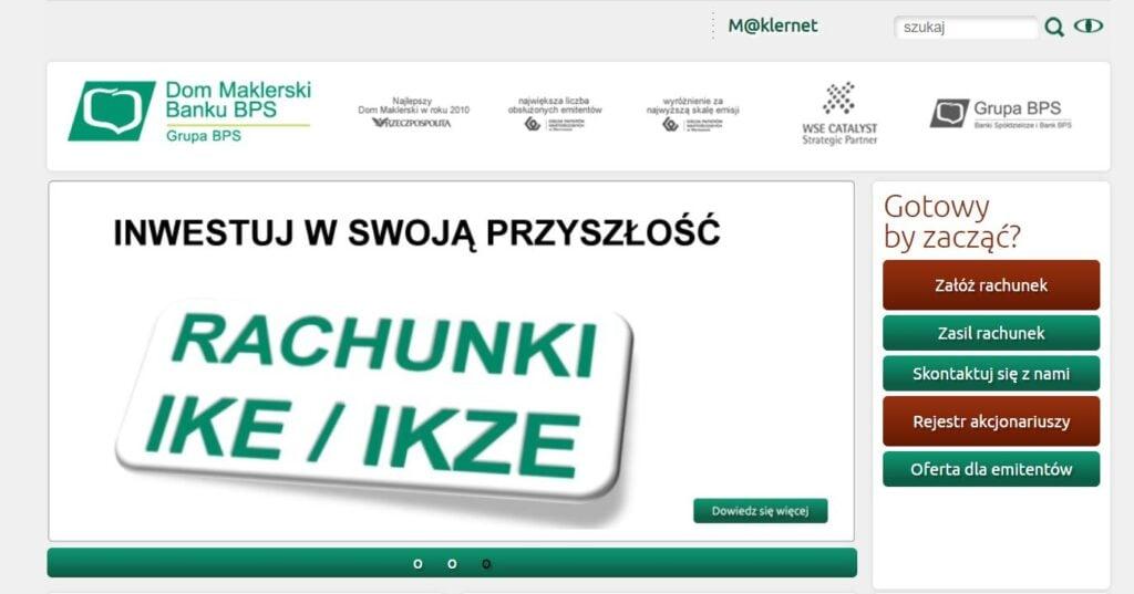 dom maklerski banku BPS - strona internetowa
